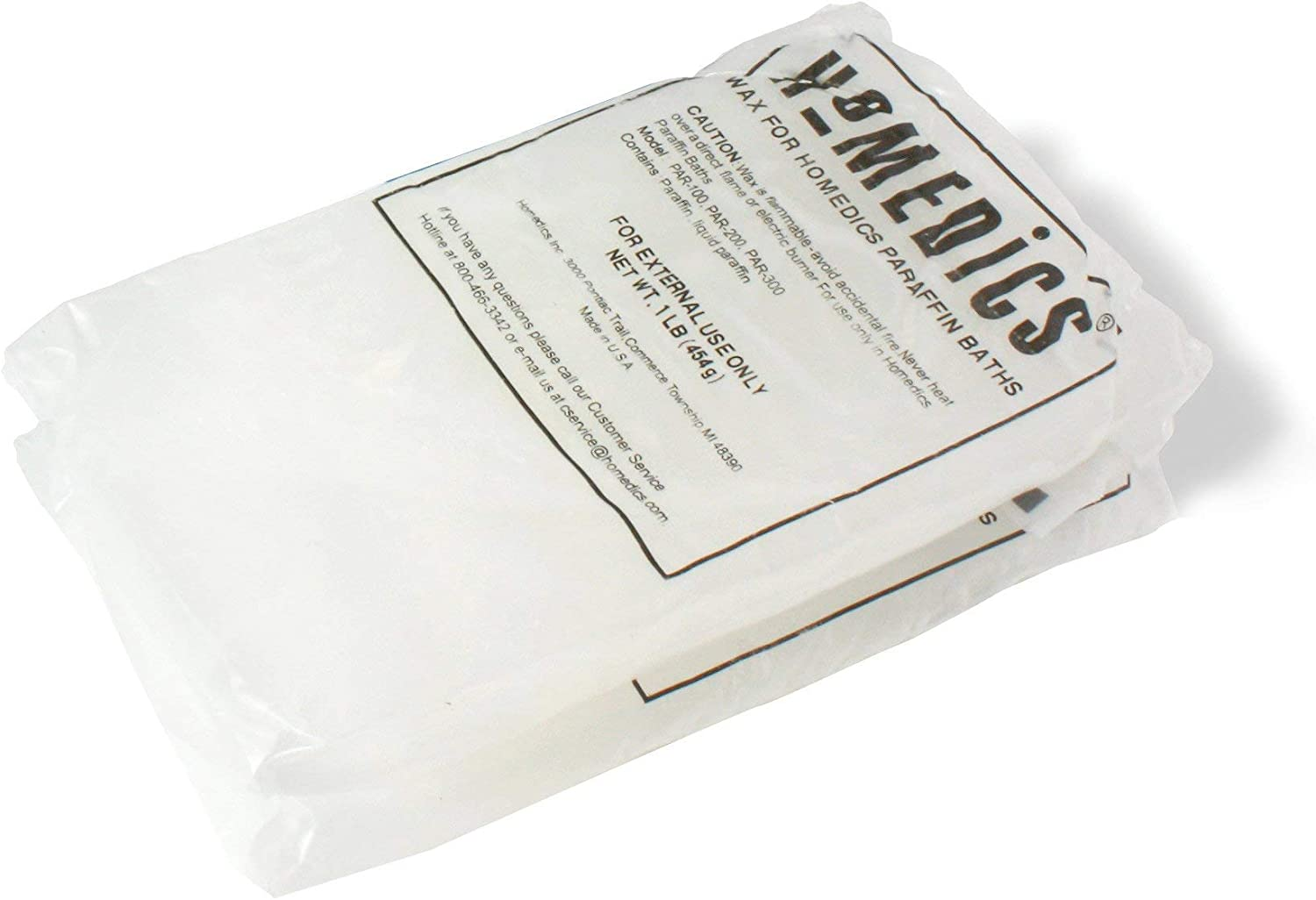 HoMedics, ParaSpa Paraffin Wax Refill | Two 1-Pound Packages - 100% Pure, Hypoallergenic Paraffin Wax | 20 Plastic Liners | Unscented, No Dyes | Moisturize & Soften Sensitive Skin : Parafin Wax Refill : Beauty