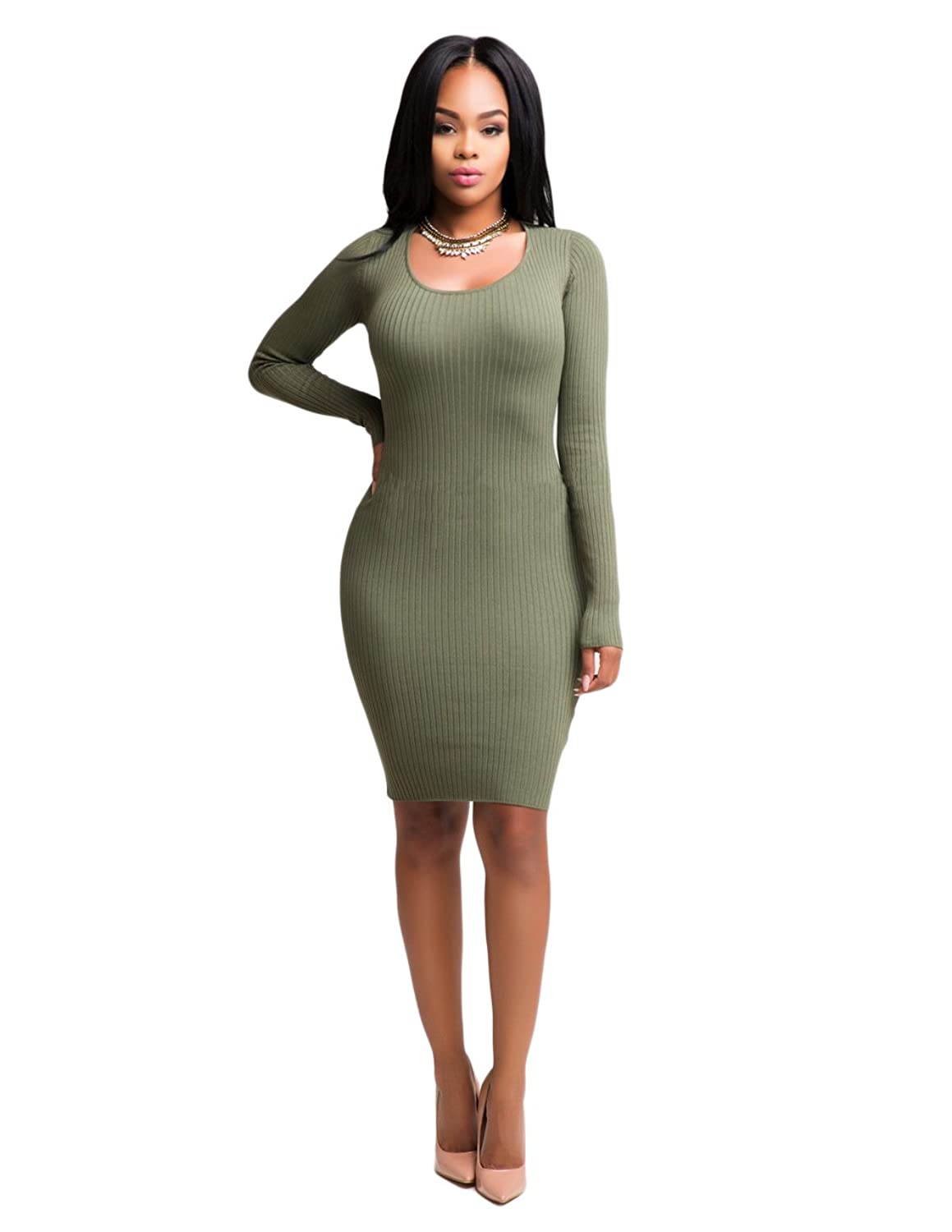 Womens Sexy Bandage Long Sleeves Ribbed Cut Out Slim Party Clubwear Midi Dress