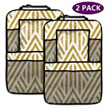 TONGHUJ Gold Geometry Exotic Pattern Car Backseat Organizer 2 Pack Car Seat Back Pocke Tablet Holder Kick Mats Universal Fit Travel Accessories