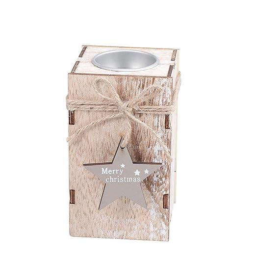 Happyyami Mini candelabro de candelita de Navidad de Madera ...