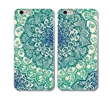 iPhone6/6s Couple Case-TTOTT 2x Cases New Fashion Floral Green Mandala Art Design Soft Slim TPU Anti-Scratch Bumper Best Friend Gift Couple Matching Cover Cases for iPhone6/6s 4.7 inch