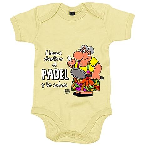 Body bebé Padel tenis Llevas dentro el padel y lo sabes - Amarillo, 6-