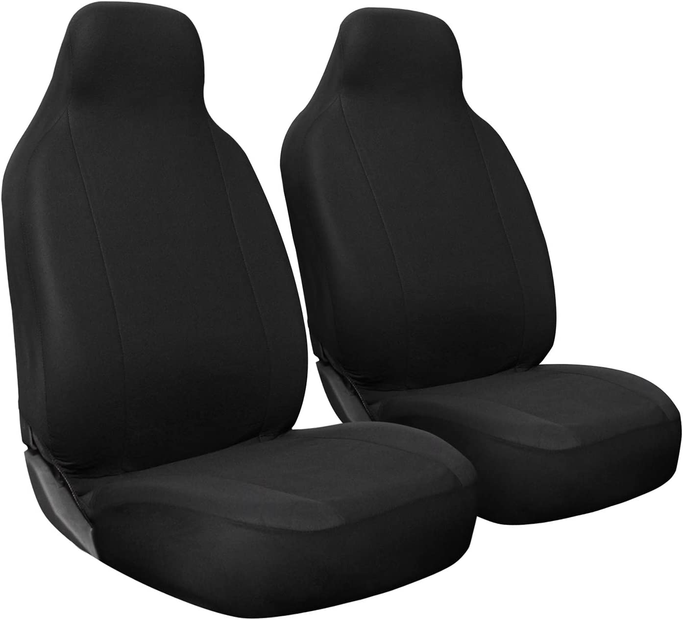OxGord Car Seat Cover - Poly Cloth Solid Black with Front Low Bucket Seat - Universal Fit for Cars, Trucks, SUVs, Vans - 2 pc Set