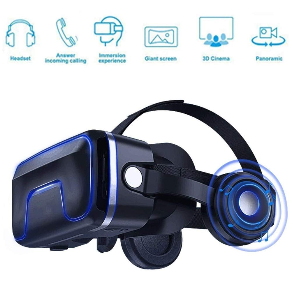 VR 3D Glasses, Virtual Reality Headset Head-Mounted Somatosensory Game Machine Anti-Blue-Light Lenses Stereo Headset for All Smartphones by LBWT