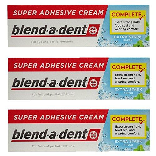 German blend-a-dent Denture Adhesive Cream Extra Stark FRESH 47g (3 PACK) (Best Denture Adhesive 2019)