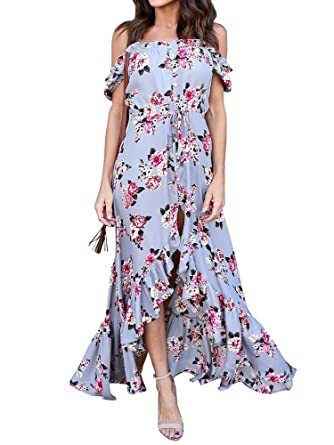 Womens Off The Shoulder Dress Floral Casual Summer Beach Button Down Maxi Dresses的圖片搜尋結果