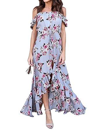 Womens Off The Shoulder Dress Floral Casual Summer Beach Button Down Maxi Dresses的圖片搜尋結果