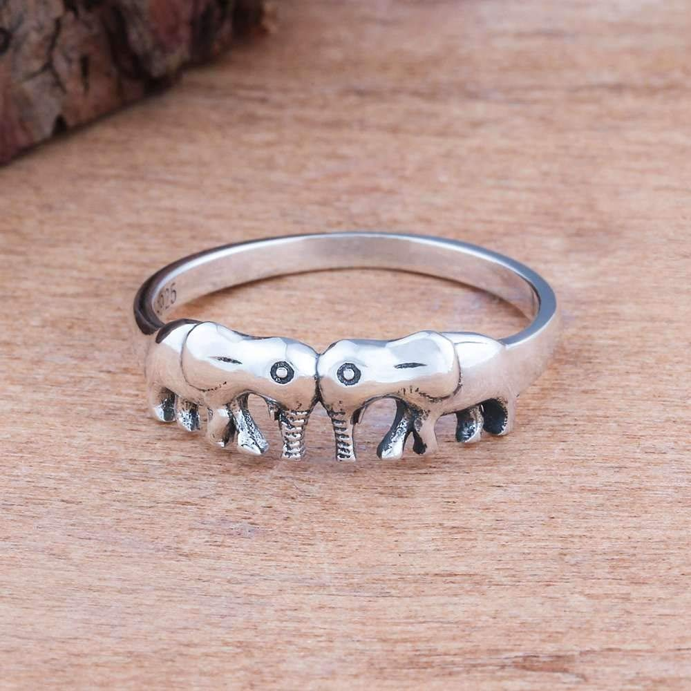 THTHT 925 Sterling Silver Rings Double Elephants Vintage Rings for Women Silver Jewelry Gift,6