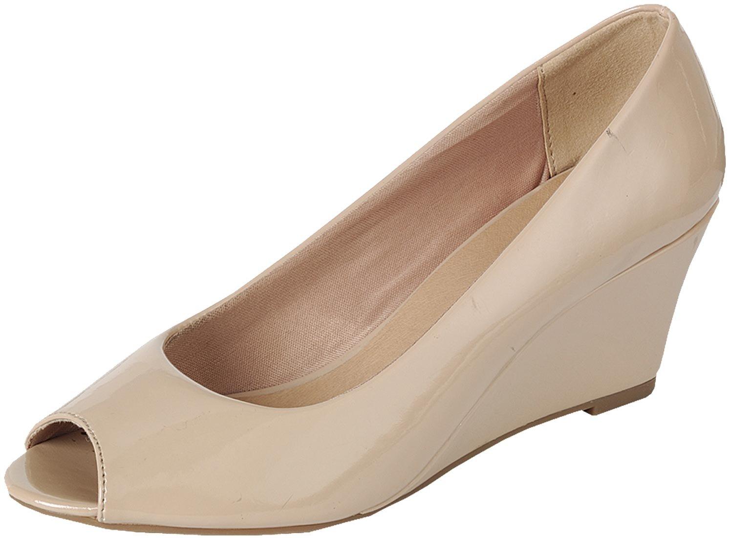 Forever Link Women's Peep Toe Slip On Wedge Pump,6 B(M) US,Beige