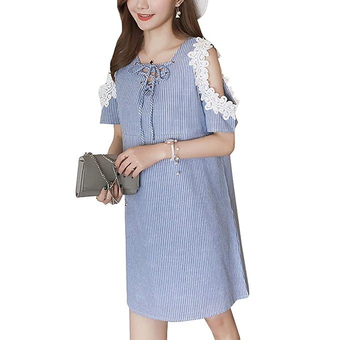 XFentech Mujer Embarazo Vestido Lactancia Encaje Premamá Blusa Maternidad Camiseta Vestidos Verano, Azul, EU