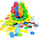 Rainbow Snow Flakes 300 Discs | STEM Educational Brain Building Toy | Interlocking Plastic Construction Connect Set | Promotes Fine Motor Skills Development - Therapy Tools