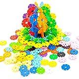 Rainbow Snow Flakes 300 Discs | STEM Educational Brain Building Toy | Interlocking Plastic Construction Connect Set | Promotes Fine Motor Skills Development - Therapy Tools
