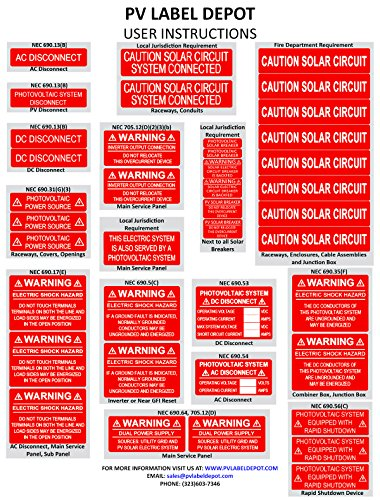 (40 Premium UV Resistant Solar PV Safety Warning Photovoltaic System Labels With Rapid Shutdown)