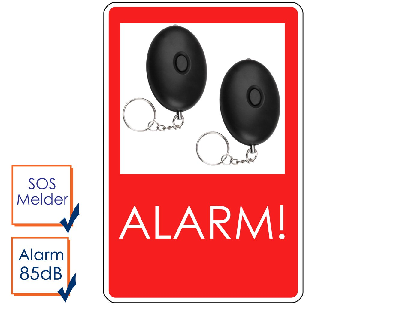 SMARTWARES 2er-Set Mini-Taschenalarm Überfallalarm SOS-Notruf Personen-Alarm 85dB, SC03SW