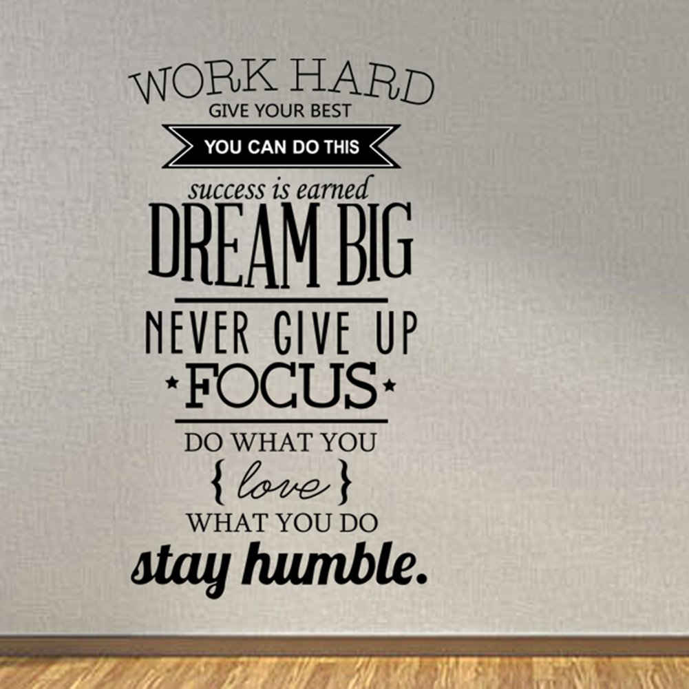 ducklingup wall decal quote work hard dream big never give up ducklingup wall decal quote work hard dream big never give up stay humble decal teamwork vinyl stickers home bedroom motivational inspirational quotes