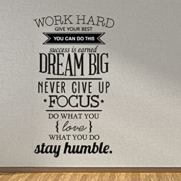 Meijing Work Hard Dream Big Never Give Up Stay Humble Wall Decal