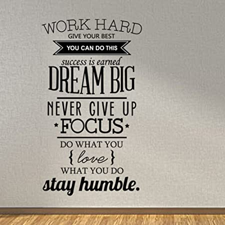 Meijing Wall Decal Quote Work Hard Dream Big Never Give Up Stay