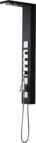 Empava 59 in. 2 Body Spray Jets Panel System with Rainfall Waterfall Head and Shower Wand in Black Finish Aluminum Alloy, SP111