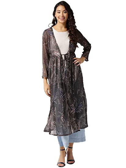 a730698d02 SERA Women's Green Polyester Longline Printed Long tie-up Maxi Shrug:  Amazon.in: Clothing & Accessories