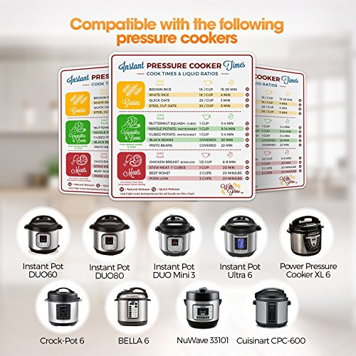 Instant Pot Electric Pressure Cooker Cook Times Quick Reference Guide | Instapot Accessories Magnetic Cheat Sheet Magnet Set | Insta Pot Sticker and Decal Alternative | Made in the USA by Willa Flare (Image #3)'
