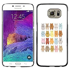 Impact Case Cover with Art Pattern Designs FOR Samsung Galaxy S6 Bear Art Drawing Lineup Cartoon Betty shop