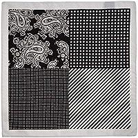 Lenço de bolso preto com desenhos diversos em branco