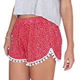 Sunm boutique Women's Shorts Beach Shorts Hot Shorts Hot Pants Casual Shorts Beach Summer Short Trousers Mini Shorts (Extra-Large, Red)