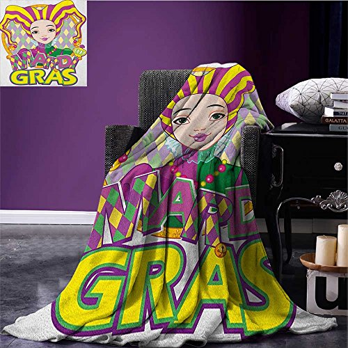 Mardi Gras Printed blanket Carnival Girl in Harlequin Costume and Hat Cartoon Fat Tuesday Theme minion blanket Yellow Purple Green size:60
