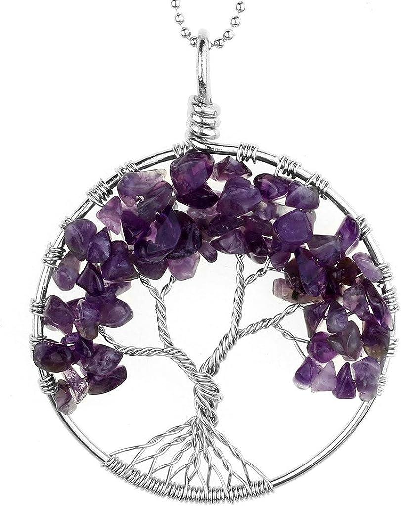 Jovivi Collar con colgante envuelto en alambre, gema pulida naturalmente de 7chakras, diseño del árbol de la vida