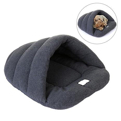 Gris forro polar mascota Snuggle saco, coutudi suave y cálido diseño de pata de gato