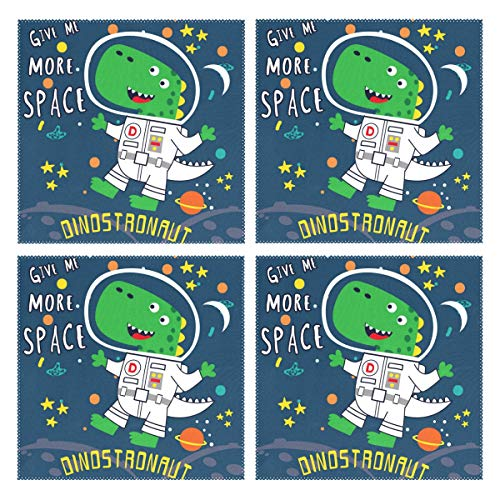 LUCASE LEMON ALEX Cartoon Dinosaur Astronaut Set of 4 Placemats Heat-Resistant Table Mat Washable Stain Resistant Anti-Skid Polyester Place Mats for Kitchen Dining Decoration -