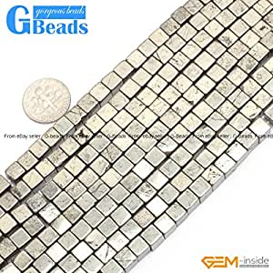 Silver Gray Pyrite Loose Gemstone Cube Beads For Jewelry Making 6mm