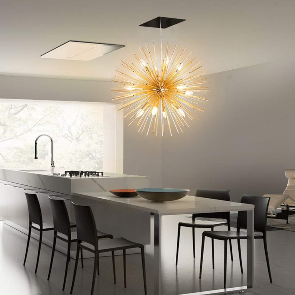 Kreativ Sputnik Globes Kronleuchter,e14 12 Lichter Gold Aluminium Ball Pendelleuchte L/öwenzahn Schlafzimmer Wohnzimmer Hotels Pendant Lampen-gelbes Licht DENGNILAI nordeuropa