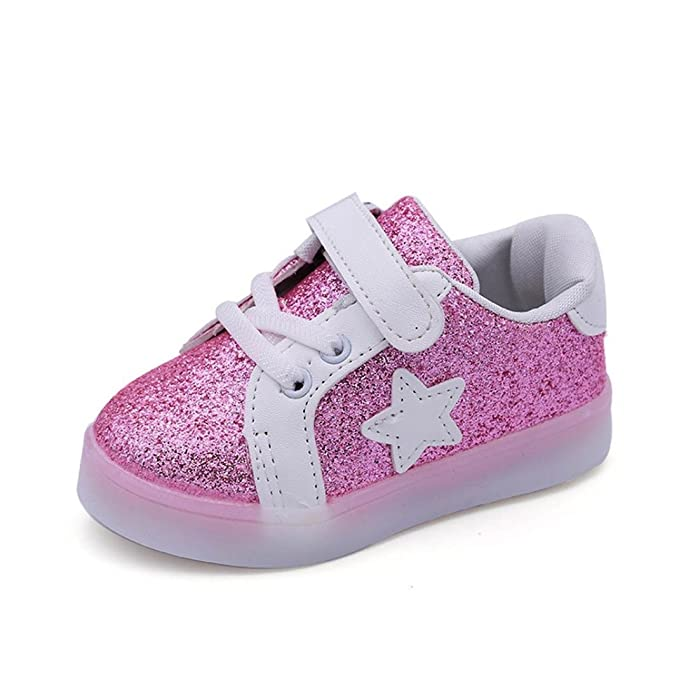 e84edb0f5d26a Botrong Baby Fashion Star Sneaker LED Luminous Child Toddler Casual  Colorful Light Shoes Baby Girl Boys Gold