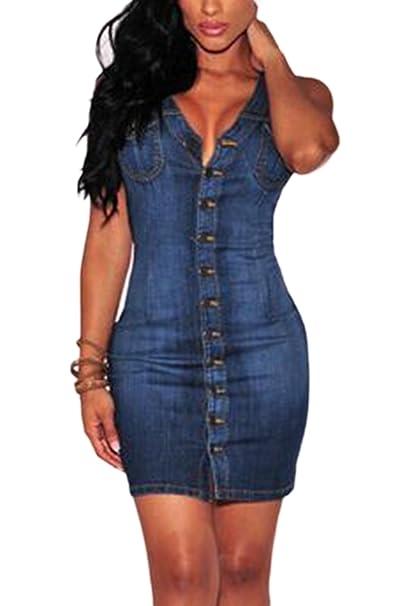 363ba21a50ff9 Women Hot Deep V Neck Sleeveless Button Down Bodycon Denim Mini Dress:  Amazon.ca: Clothing & Accessories