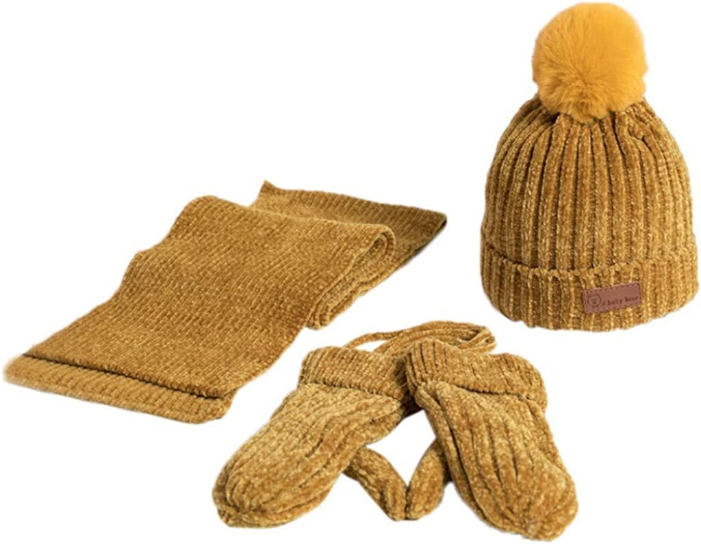 Amaone Baby Hats Scarf Gloves Set Kids Boys Girls 3-8 Years Old,Winter Warm Knitted Cap+Scarf+Gloves Keep Warm 3Pcs Pompom Cap Unisex Toddlers Hat Kit