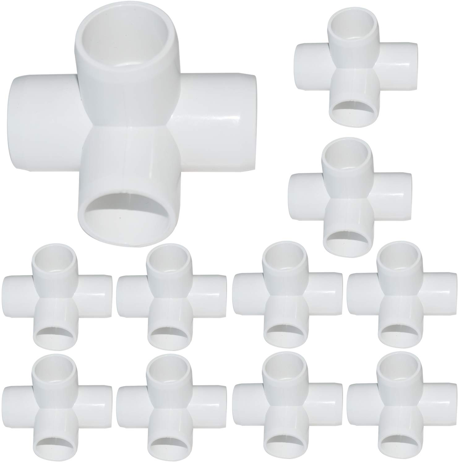15Pack 3/4Inch 4 Way PVC Fittings, Heavy Duty PVC Elbow Side Outlet Tees, Furniture PVC Tee Corner Fittings for Building PVC Furniture Greenhouse Shed Pipe Fittings Tent Connection