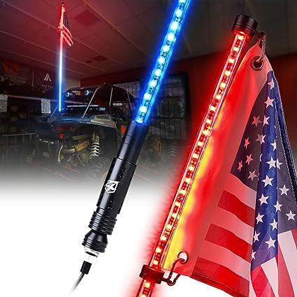 5ft Red LED Whip Lights Flag Pole Safety Antenna for UTV ATV Polaris RZR Jeep