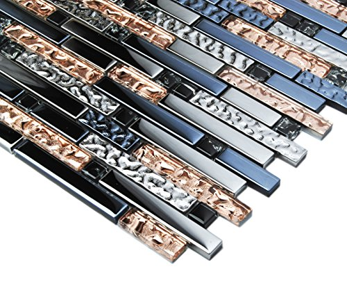 TST Mosaic Tiles Crystal Glass Tile Interlocking Black Brown Mosaic Bath Kitchen Fireplace Decor TSTGT107 (5 PCS [12'' X 12''/Each]) by TST MOSAIC TILES (Image #2)