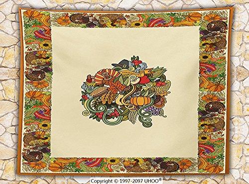 Thanksgiving Decorations Fleece Throw Blanket Pumpkin Wreath Bow Cranberry Leaves Ivy Corn Basket Traditional Pattern Fall Decor Throw Multi