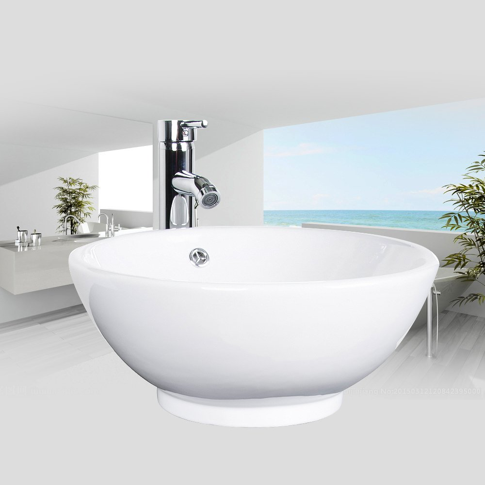 Bathroom Ceramic Vessel Sink Brass Faucet Combo Lavatory Modern Pop Up Drain Contemporary Drop In Countertop; Chrome; 12'' Faucet M10 1.5GPM 2.5MPA; 16 Inch Wide Large; (BOWL)