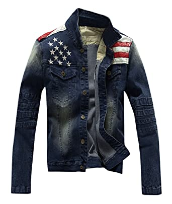 ce0bbe278 Men's Fashion American USA Flag Denim Jean Jacket Coat at Amazon ...