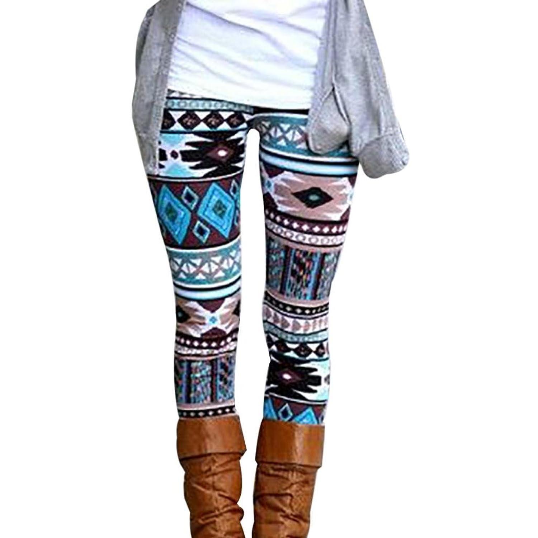 Besde Fashion Women Skinny Geometric Print Stretchy Pants Leggings