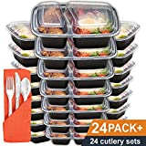 Meal Prep Containers 2 Compartment 24 Pack with Lids and Bonus Plastic Cutlery Sets | 32oz BPA-Free Food Storage and Portion Control by Prep Naturals