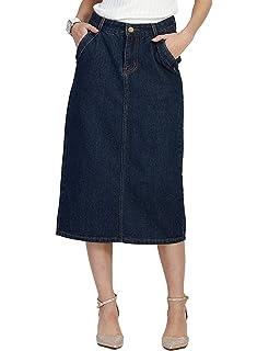b8667675644 Innifer Women Basic Casual Plus Size High Waist Knee Length Denim A-Line  Skirt