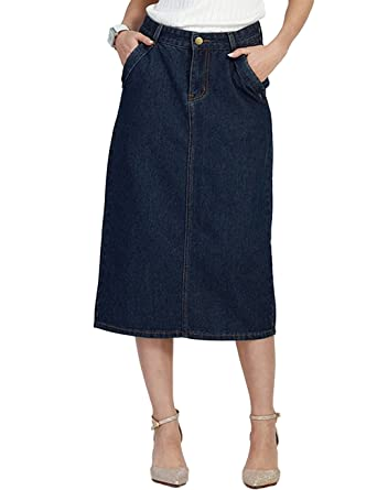 e6779fd82c Innifer Women Basic Casual Plus Size High Waist Knee Length Denim A-Line  Skirt