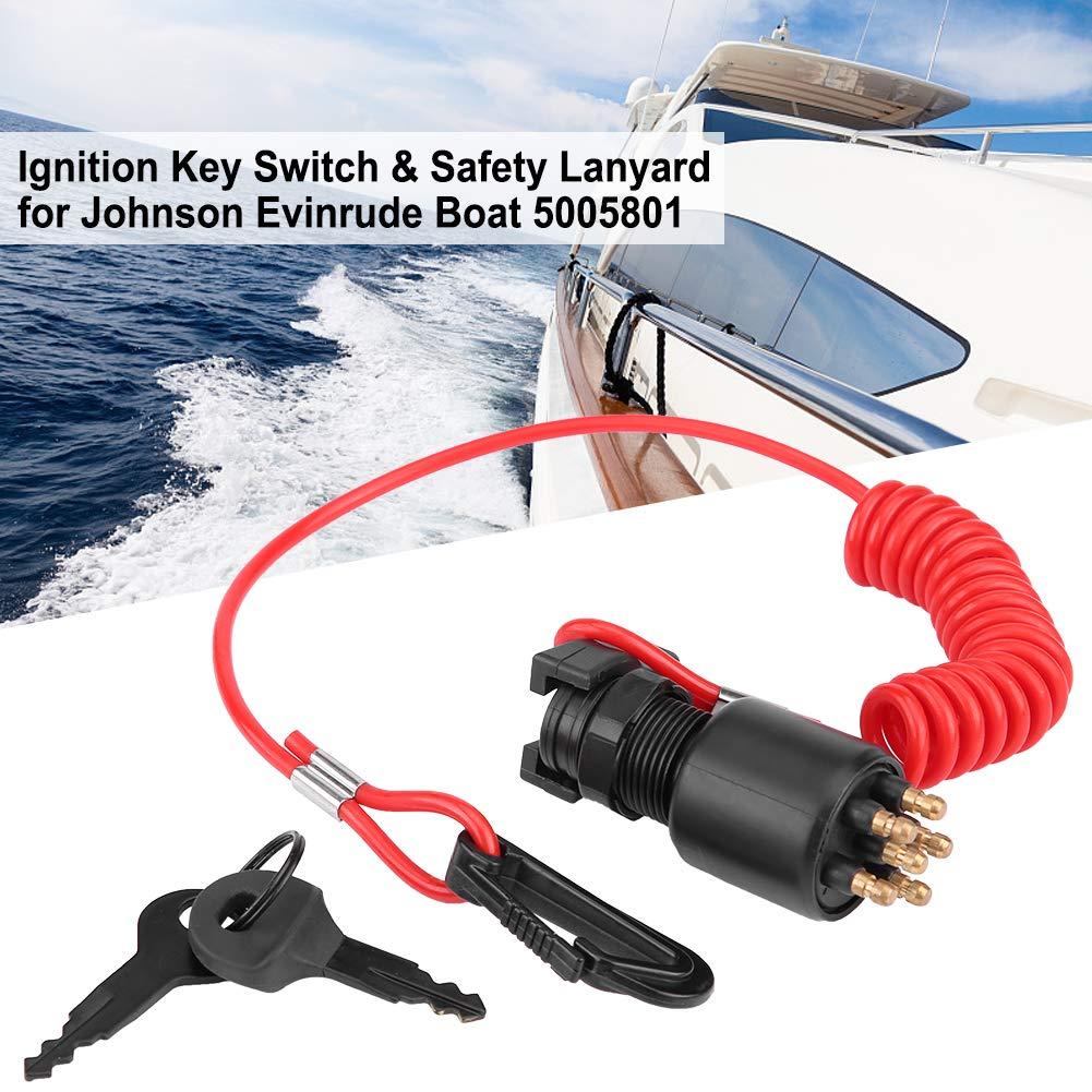 Ignition Key Switch /& Safety Lanyard for Johnson Evinrude Boat 5005801 Ignition Key Switch