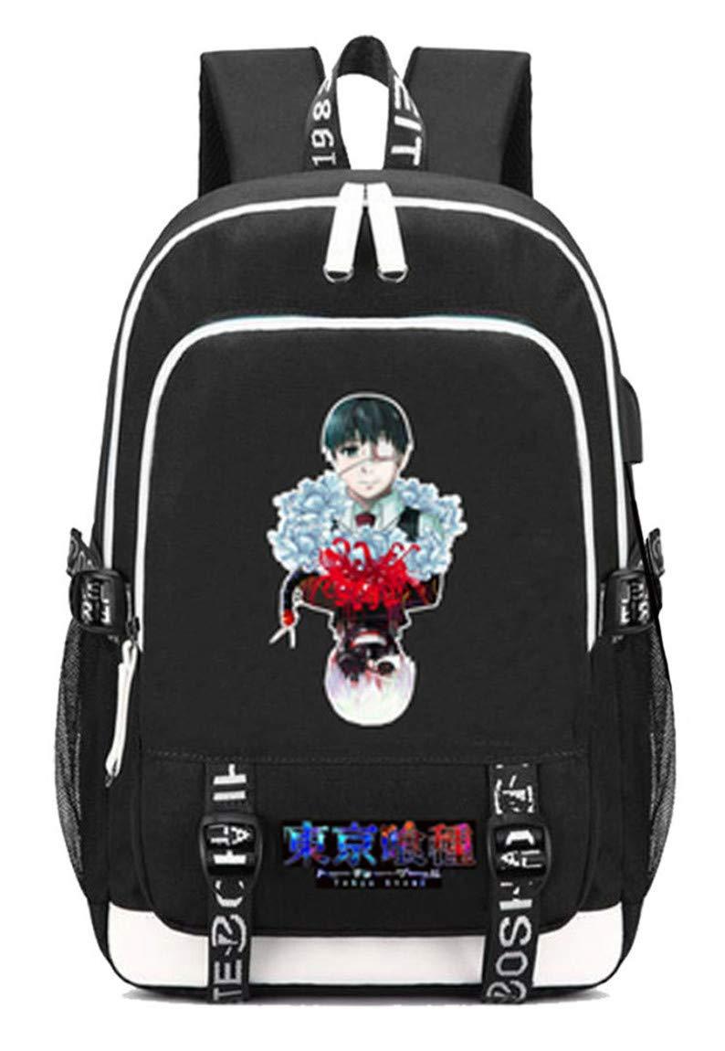 Tokyo Ghoul  3 Cosstars Tokyo Ghoul Anime Rucksack Schoolbag Laptop Backpack with USB Charging Port and Headphone Jack  5