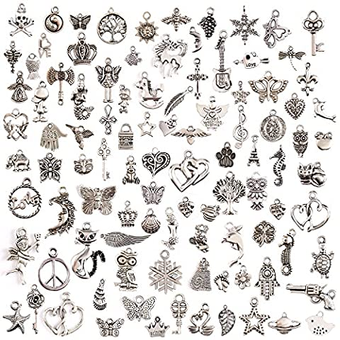 KeyZone Wholesale 100 Pieces Mixed Charms Pendants DIY for Jewelry Making and Crafting - Jewelry