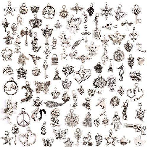 (Keyzone Wholesale 100 Pieces Mixed Charms Pendants DIY for Jewelry Making and)